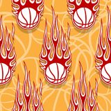 Seamless pattern with basketball balls and flames. Seamless pattern with basketball balls and hotrod flames. Vector illustration. Ideal for wallpaper, cover Royalty Free Stock Photography