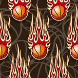 Seamless pattern with basketball balls and flames. Seamless pattern with basketball balls and hotrod flames. Vector illustration. Ideal for wallpaper, cover Stock Photo