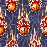 Seamless pattern with basketball balls and flames. Seamless pattern with basketball balls and hotrod flames. Vector illustration. Ideal for wallpaper, cover Royalty Free Stock Photos