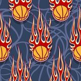 Seamless pattern with basketball balls and flames. Seamless pattern with basketball balls and hotrod flames. Vector illustration. Ideal for wallpaper, cover Stock Photos