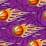Seamless pattern with basketball balls and flames. Seamless pattern with basketball balls and hotrod flames. Vector illustration. Ideal for wallpaper, cover Stock Image