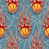 Seamless pattern with basketball balls and flames. Seamless pattern with basketball balls and hotrod flames. Vector illustration. Ideal for wallpaper, cover Stock Images