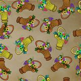 Seamless pattern with baskets and flowers Royalty Free Stock Photography