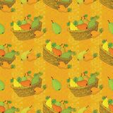 Seamless pattern, baskets and fruits pears Stock Images