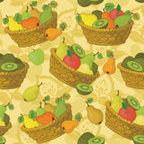 Seamless pattern, baskets and fruits Royalty Free Stock Photos