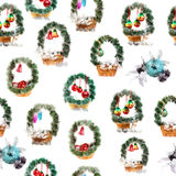 Seamless pattern - baskets with a green needles garland and New Year balls Royalty Free Stock Photo