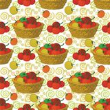 Seamless pattern, baskets and tomatoes. Seamless pattern, wicker baskets, vegetables tomatoes and abstract background. Vector Stock Image