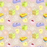 Seamless pattern with bath soaps, bombs, flowers vector illustration