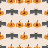 Seamless pattern of bats and pumpkins Stock Photo