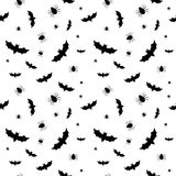 Seamless pattern with bats and spiders Stock Photos