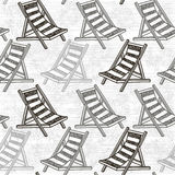 Seamless pattern with beach chaise. Monochrome background. Royalty Free Stock Photo