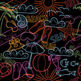 Seamless pattern with beach doodles vector illustration