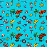 Seamless pattern beach holidays with hand drawn elements Royalty Free Stock Images