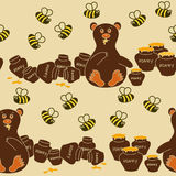 Seamless pattern of bear and bees Stock Photo