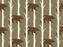 Seamless pattern bear and birch. Seamless pattern, background with birch wood trees over white background Stock Photo