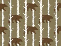 Seamless pattern bear and birch stock photo