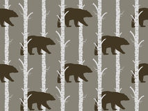 Seamless pattern bear and birch. Seamless pattern, background with birch wood trees over white background Royalty Free Stock Image