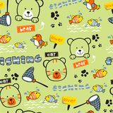 Seamless pattern,bear and cat funny animal cartoon,vector illustration. Seamless pattern funny animal cartoon,vector illustration for t shirt and wallpaper or royalty free illustration