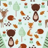 Seamless pattern with forest animals - vector illustration, eps royalty free illustration