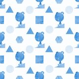 A seamless pattern of a bear and shapes in blue, painted in watercolor Royalty Free Stock Images