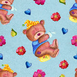 Seamless pattern with bear holding toilet paper Stock Photo