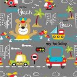 Seamless pattern,bear holiday funny animal cartoon,vector illustration. Seamless pattern funny animal cartoon,vector illustration for t shirt and wallpaper or royalty free illustration