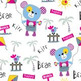Seamless pattern,bear and kite funny animal cartoon,vector illustration. Seamless pattern funny animal cartoon,vector illustration for t shirt and wallpaper or royalty free illustration