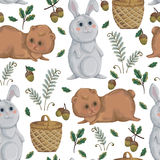 Seamless pattern with bear, rabbit, basket, fern and acorn. Cute cartoon characters. Hand drawn vector illustration in watercolor style Royalty Free Stock Images