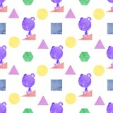 A seamless pattern of a bear and shapes, painted in watercolor Royalty Free Stock Photography