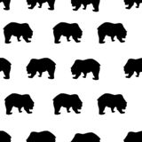 Seamless pattern bear silhouette on white, vector eps 10. Seamless pattern black bear silhouette on white background, vintage style. Wild animals simple cute stock illustration