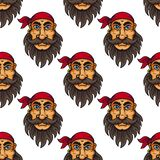 Seamless pattern of a bearded pirate or sailor Stock Photography