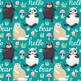 Seamless pattern with bears, bee, plants and traces Royalty Free Stock Images