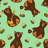 Seamless pattern with bears and bees Stock Photos