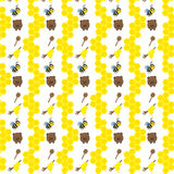 Seamless pattern with bears, bees and honey Royalty Free Stock Images