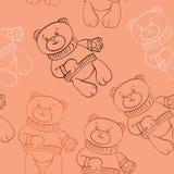 Seamless pattern with bears boys Stock Photo