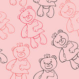 Seamless pattern with bears girls Royalty Free Stock Photos