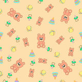 Seamless pattern with bears, piramodka, balls and baby's dummies (pacifiers). Stock Image