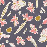 Seamless pattern with beautiful abstract flowers and butterflies in pink, gold and cream with a grey background. stock illustration