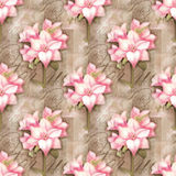 Seamless pattern. Beautiful astromeria flower in the pot with pattern,  on grunge shabby background for holiday design Stock Image