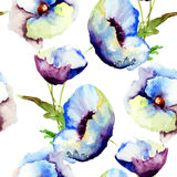 Seamless pattern with Beautiful Blue flowers Stock Photography