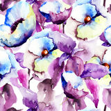 Seamless pattern with Beautiful Blue flowers. Watercolor painting Royalty Free Stock Photo