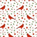 Seamless pattern with beautiful cardinals Royalty Free Stock Photo