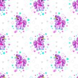 Seamless pattern with beautiful cartoon little unicorn royalty free illustration