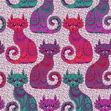 Seamless pattern with beautiful cats Stock Image