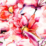 Seamless pattern with Beautiful colorful flowers Royalty Free Stock Image