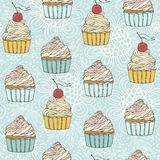 Seamless pattern with beautiful cup cakes. Seamless pattern with sweet detailed drawn cup cakes Stock Photos