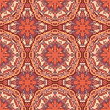 Seamless pattern with beautiful ethno Mandalas in brown colors. Vector illustration Stock Image