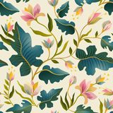 Seamless pattern with beautiful fantastic plants. Vector magic background design. Seamless pattern with beautiful fantastic plants. Vector magic background vector illustration