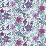 Seamless pattern with beautiful flowers and branches. Royalty Free Stock Photos