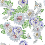 Seamless pattern with beautiful flowers and butterfly. Pansies. Peony. Royalty Free Stock Image